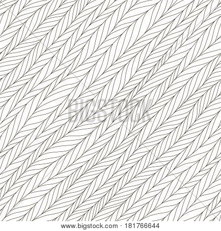 Abstract herringbone background. Seamless pattern. Diagonal texture. Wallpaper in black and white colors. Vector illustration can be used for fashion textile, wrapping paper, fabric prints.