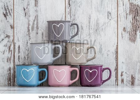 Colorful Cute Coffee Mugs With Hearts