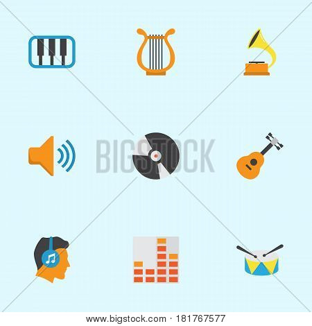 Audio Flat Icons Set. Collection Of Controlling, Pianoforte, Male And Other Elements. Also Includes Symbols Such As Headphone, Equalizer, Musical.