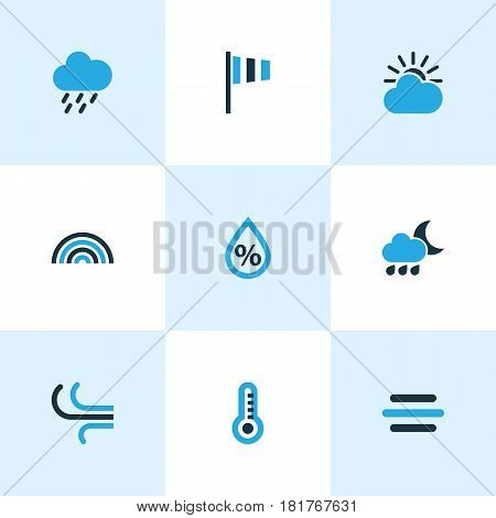 Climate Colored Icons Set. Collection Of Rainstorm, Breeze, Arc And Other Elements. Also Includes Symbols Such As Temperature, Drop, Rainbow.