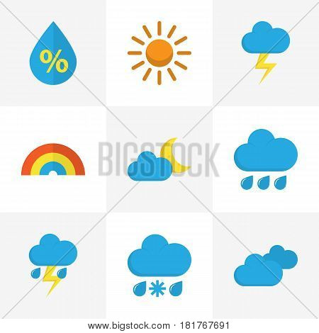 Meteorology Flat Icons Set. Collection Of Overcast, The Flash, Rain And Other Elements. Also Includes Symbols Such As Sun, Lightning, Drizzles.