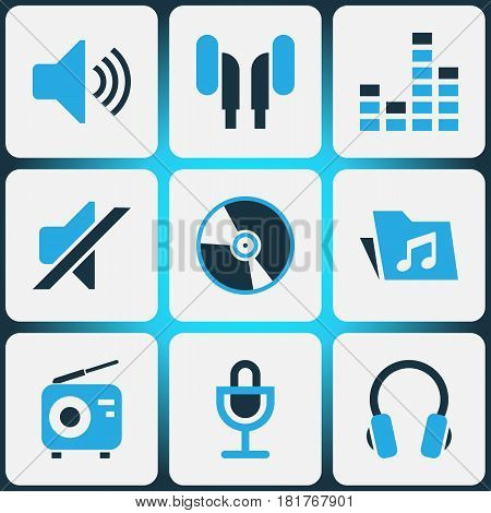 Audio Colored Icons Set. Collection Of Microphone, Vinyl, Volume And Other Elements. Also Includes Symbols Such As Sound, Tuner, Cd.