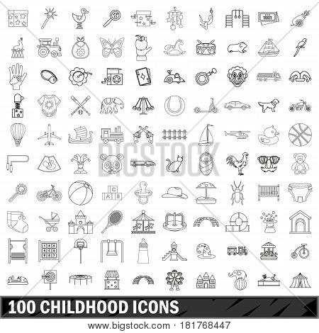 100 childhood icons set in outline style for any design vector illustration