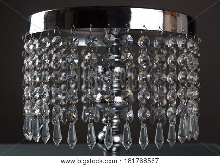 Detail of luxury cake stand with crystals for beautiful and delicious cake and pastries