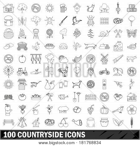 100 countryside icons set in outline style for any design vector illustration
