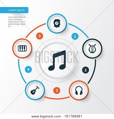 Multimedia Icons Set. Collection Of Music, Earphone, Instrument And Other Elements. Also Includes Symbols Such As Keyboard, Instrument, Piano.
