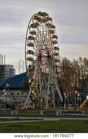 Tyumen, Russia - October 23, 2005: view of the big wheel on Cvetnoy Boulvard