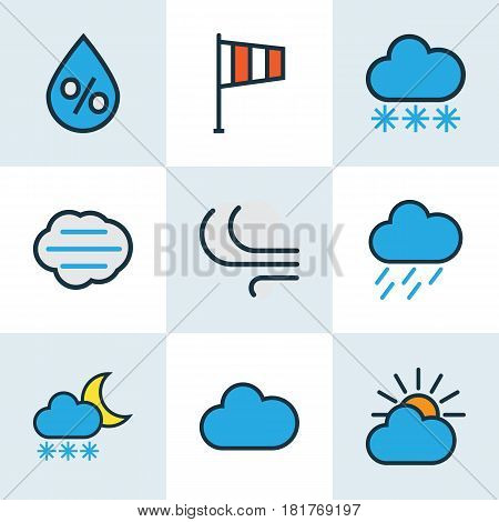 Weather Colored Outlines Set. Collection Of Clouded, Freeze, Windy And Other Elements. Also Includes Symbols Such As Flag, Percent, Sun.