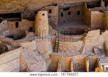 The Mesa Verde cliff dwellings of the ancient Anasazi culture.