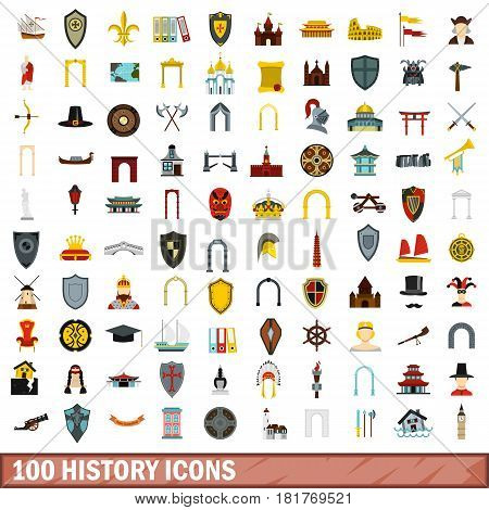 100 history icons set in flat style for any design vector illustration