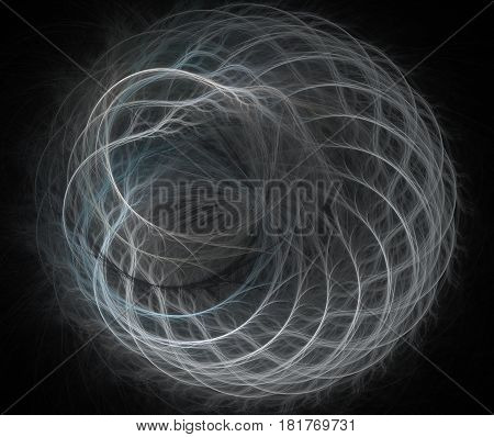 An abstract computer generated modern fractal design on dark background. Spiral floral ornament