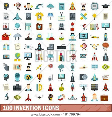 100 invention icons set in flat style for any design vector illustration
