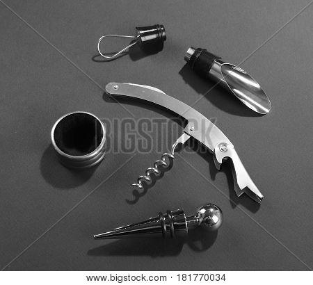 Wine opener cork bottle corkscrew on gray background