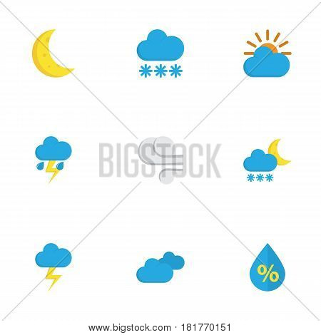 Nature Flat Icons Set. Collection Of Storm, The Flash, Frosty And Other Elements. Also Includes Symbols Such As Sun, Frost, Frosty.