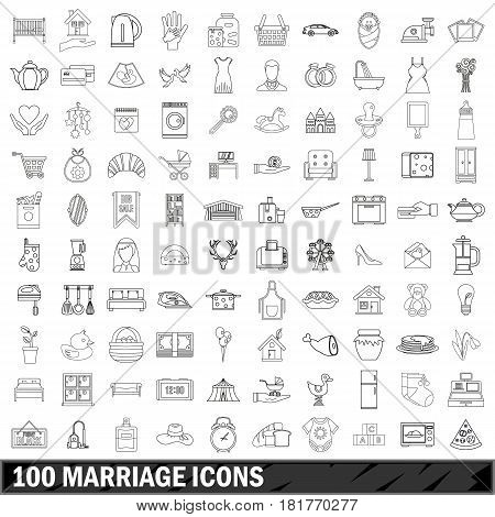 100 marriage icons set in outline style for any design vector illustration