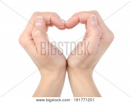 Love: Hands making a heat shape isolated on white background