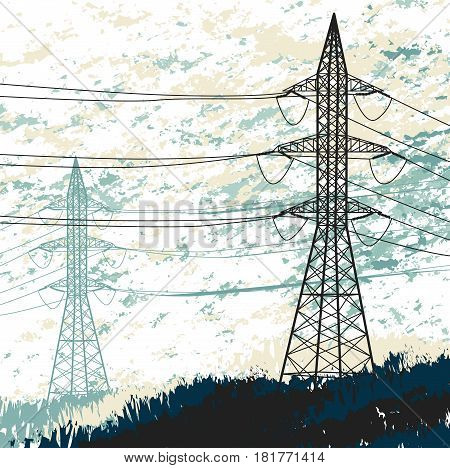 High voltage pylon. Grunge illustration. Vector background