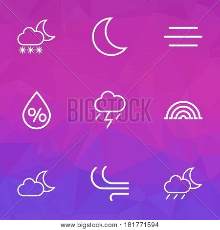 Weather Outlines Set. Collection Of Night, Rainstorm, Drop And Other Elements. Also Includes Symbols Such As Swirl, Humidity, Lightning.