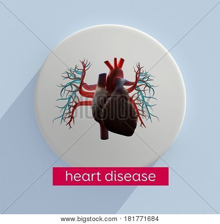 Heart infographic. Heart disease. This is a 3d illustration