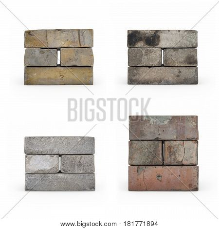 Set Of Brickwork Isolated 3D Rendering