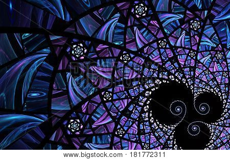 An abstract computer generated modern fractal design on dark background. Abstract fractal color texture. Digital art. Abstract Form & Colors. Abstract fractal element pattern for your design. Spiral mosaic fractal pattern