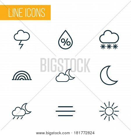 Weather Outlines Set. Collection Of Night, Rainstorm, Rainbow And Other Elements. Also Includes Symbols Such As Stormy, Humidity, Moonshine.