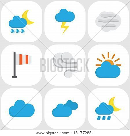 Meteorology Flat Icons Set. Collection Of Banner, Cloud, Storm And Other Elements. Also Includes Symbols Such As Shower, Hailstones, Sky.