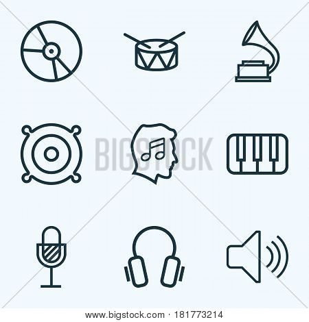 Audio Outlines Set. Collection Of Keys, Cover, Plastic And Other Elements. Also Includes Symbols Such As Barrel, Gramophone, Earphones.