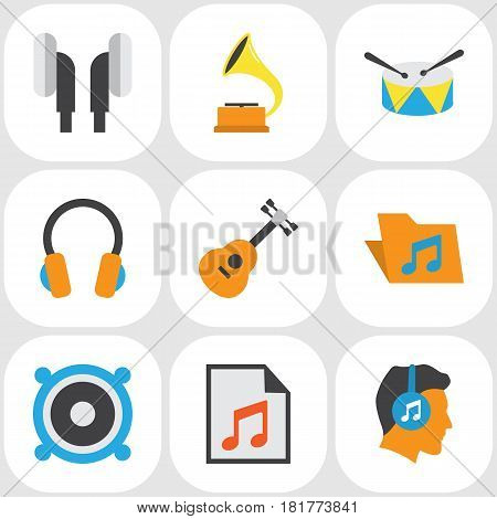 Music Flat Icons Set. Collection Of Loudspeaker, Band, Shellac Elements. Also Includes Symbols Such As Earpiece, Media, Guitar.