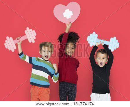 Cheerful Happy Children Fitness Studio Portrait