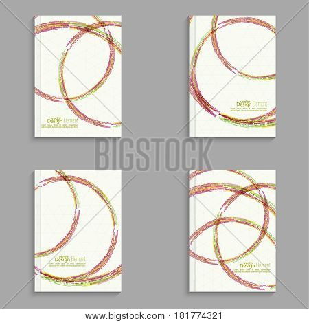Set Magazine Cover with colored round hoops, trellis structure. For book, banner, brochure, flyer, poster, booklet, leaflet, postcard, business card journal annual report vector illustration