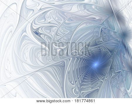 An abstract computer generated modern fractal design on dark background. Abstract fractal color texture. Digital art. Abstract Form & Colors. Frosty winter pattern
