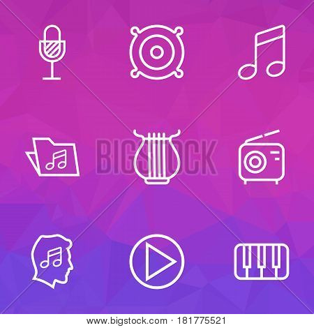 Audio Outlines Set. Collection Of Keys, Amplifier, Wireless And Other Elements. Also Includes Symbols Such As Microphone, Keys, Sound.