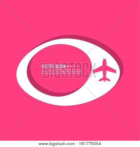 Abstract geometric shape banner with icon airplane. Vector frame speech bubble. Air text box. Aeroplane textbox. Pink.