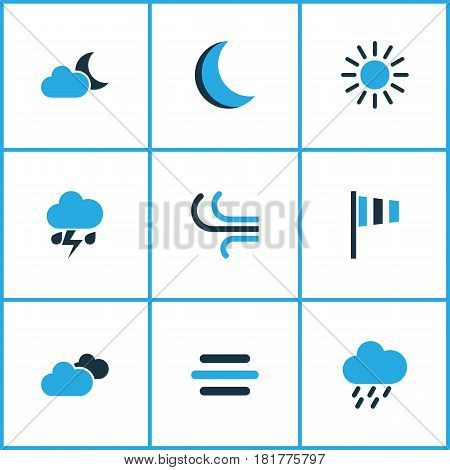 Climate Colored Icons Set. Collection Of Thunderstorm, Rainstorm, Cloudy Sky And Other Elements. Also Includes Symbols Such As Wind, Weather, Summer.