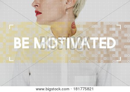 Woman with quote for inspiration and motivation