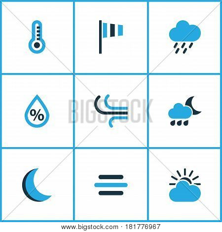 Meteorology Colored Icons Set. Collection Of Humidity, Night, Rainstorm And Other Elements. Also Includes Symbols Such As Drop, Humidity, Sun.