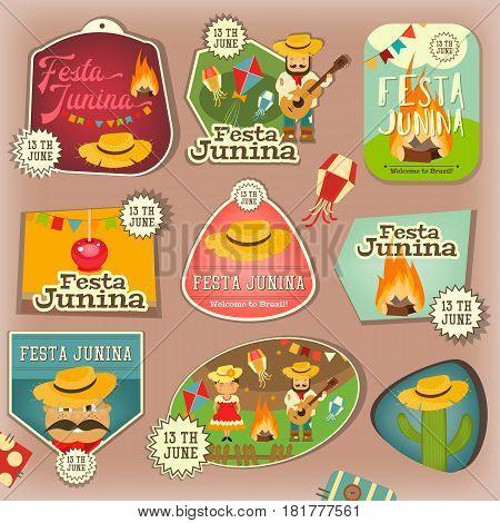 Festa Junina - Brazil June Festival. Stickers Set of Folklore Holiday. Vector Illustration.