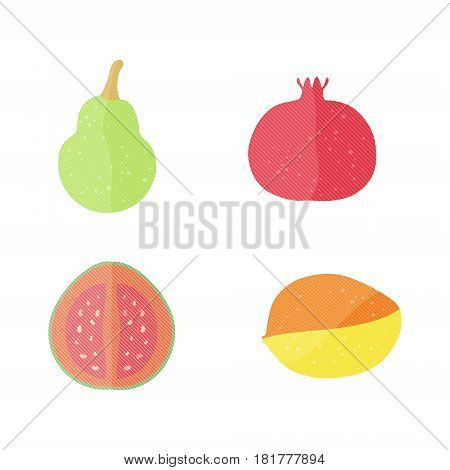 Four Flat Vector Fruits with Texture in Oblique White Lines. Vector Illustration of a Pomegranate,  Mango, Guava and Pear. Vector EPS 10