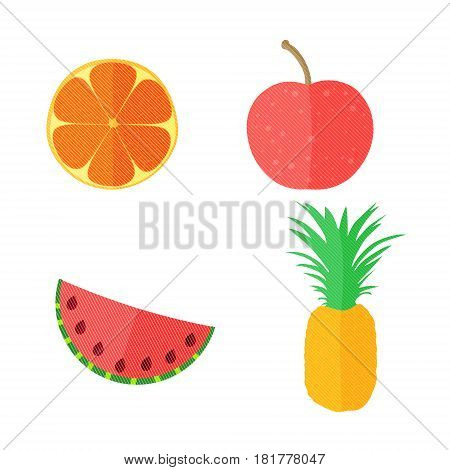 Four Flat Vector Fruits with Texture in Oblique White Lines. Vector Illustration of an Orange, Apple, Watermelon and Pineapple. Vector EPS 10