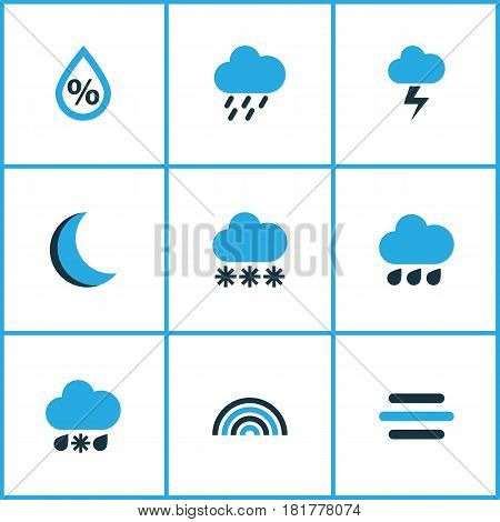 Meteorology Colored Icons Set. Collection Of Snowfall, Cold Weather, Arc And Other Elements. Also Includes Symbols Such As Bolt, Gust, Wind.