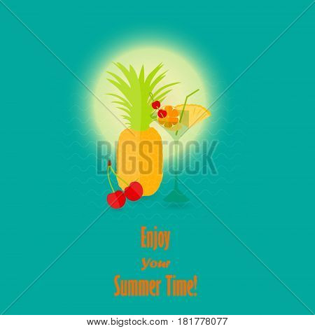 Summer Vacation Image with the Lettering. Vector Image of a Summer Fruits and a Coctail against Warm Sun and Waves. Vector EPS 10
