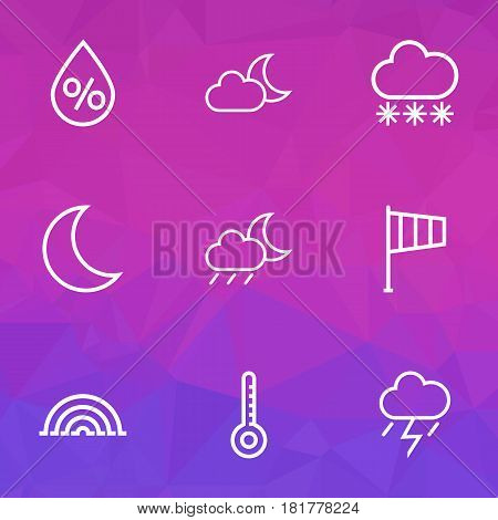 Nature Outlines Set. Collection Of Windsock, Temperature, Night And Other Elements. Also Includes Symbols Such As Night, Thunderstorm, Moon.