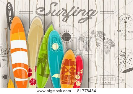 Surfing Poster in Vintage Style for Surf Club or Shop. Surfboards with Different Designs and Sizes. Vector Illustration.
