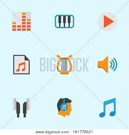 Music Flat Icons Set. Collection Of Tone, Media, Controlling And Other Elements. Also Includes Symbols Such As List, Note, Begin.