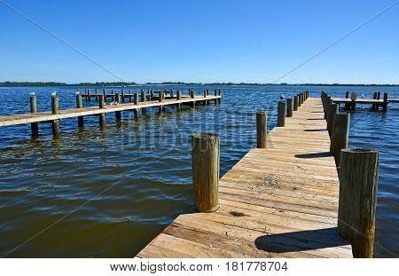 Wooden Boat Docks on Anna Maria Island Florida