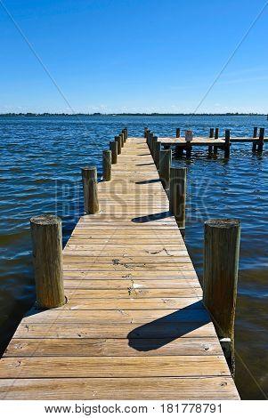 Long Wooden Boat Dock on Anna Maria Island Florida