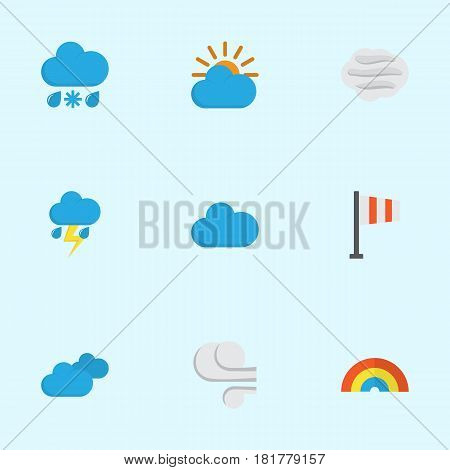 Climate Flat Icons Set. Collection Of Windy, Sunny, Cloud And Other Elements. Also Includes Symbols Such As Windy, Sunny, Clouds.