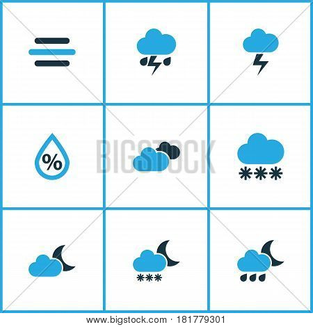 Meteorology Colored Icons Set. Collection Of Moonshine, Thunderstorm, Humidity And Other Elements. Also Includes Symbols Such As Weather, Thunderstorm, Rain.