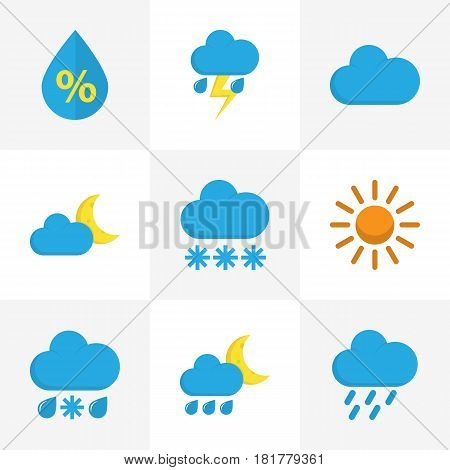 Weather Flat Icons Set. Collection Of Drizzles, Cloud, Drop And Other Elements. Also Includes Symbols Such As Cloud, Winter, Snow.